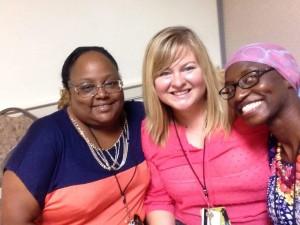 Jamie Farr (L) and Megan Terry (Center) with NCCWSL friend Aisha Saidy (R)