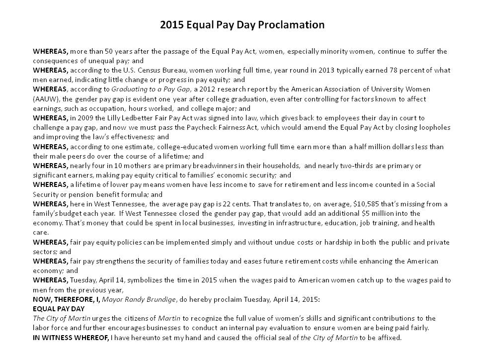 Equal Pay Day Activities Equal Pay Day – Martin Branch